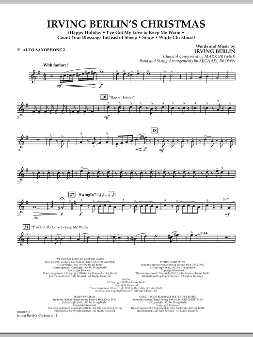 page one of Irving Berlin's Christmas (Medley) - Eb Alto Saxophone 2ASALTTEXT