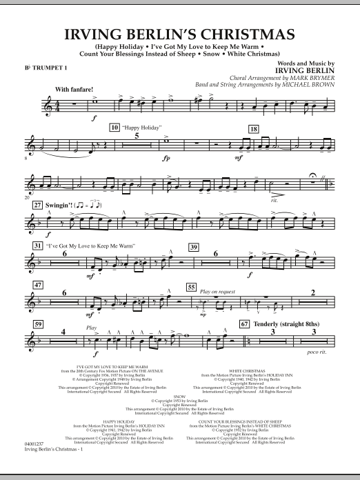page one of Irving Berlin's Christmas (Medley) - Bb Trumpet 1ASALTTEXT