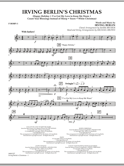 page one of Irving Berlin's Christmas (Medley) - F Horn 1ASALTTEXT