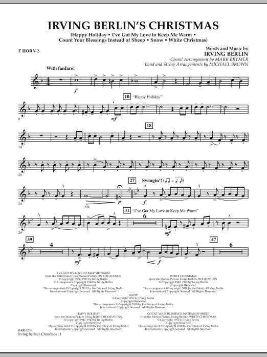 page one of Irving Berlin's Christmas (Medley) - F Horn 2ASALTTEXT