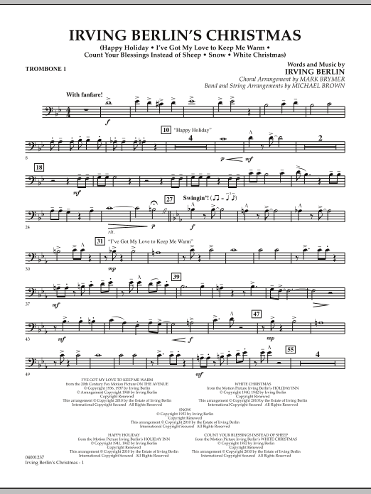 Irving Berlin's Christmas (Medley) - Trombone 1 (Concert Band)