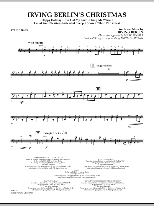 page one of Irving Berlin's Christmas (Medley) - String BassASALTTEXT