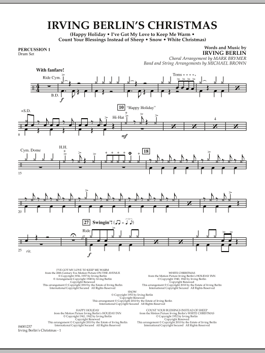 page one of Irving Berlin's Christmas (Medley) - Percussion 1ASALTTEXT