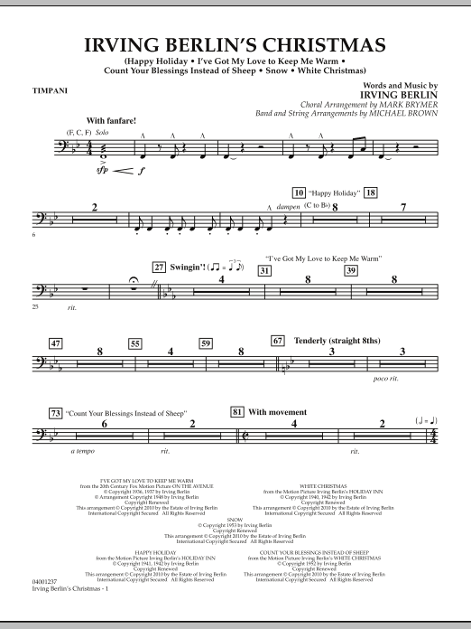 Irving Berlin's Christmas (Medley) - Timpani (Concert Band)