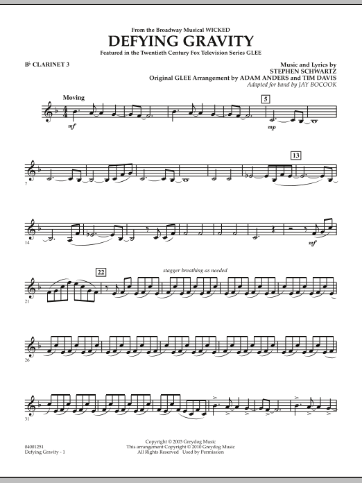 Defying Gravity (from Wicked) - Bb Clarinet 3 (Concert Band)