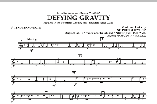 Defying Gravity (from Wicked) - Bb Tenor Saxophone (Concert Band)