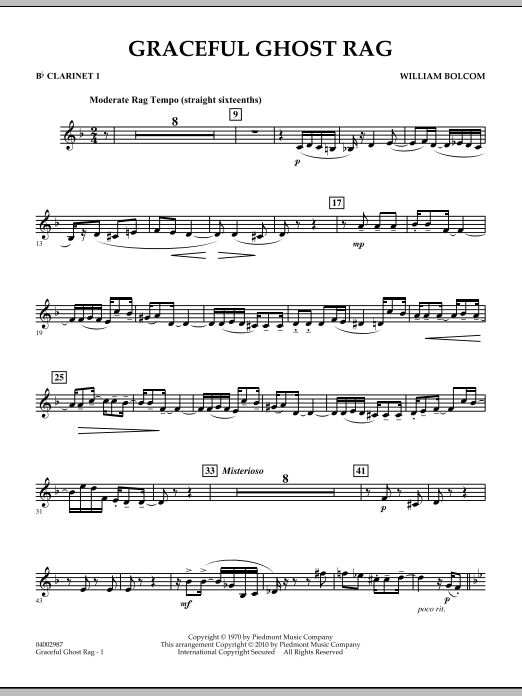 Graceful Ghost Rag - Bb Clarinet 1 (Concert Band)