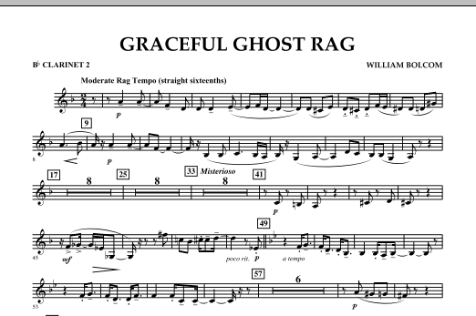 Graceful Ghost Rag - Bb Clarinet 2 (Concert Band)