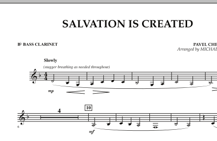 Salvation Is Created - Bb Bass Clarinet (Concert Band)