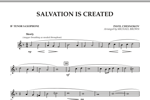 Salvation Is Created - Bb Tenor Saxophone (Concert Band)