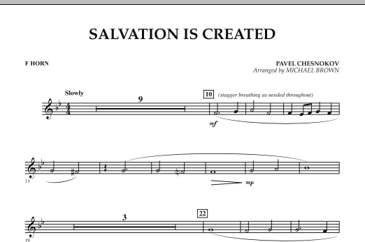 Salvation Is Created - F Horn (Concert Band)