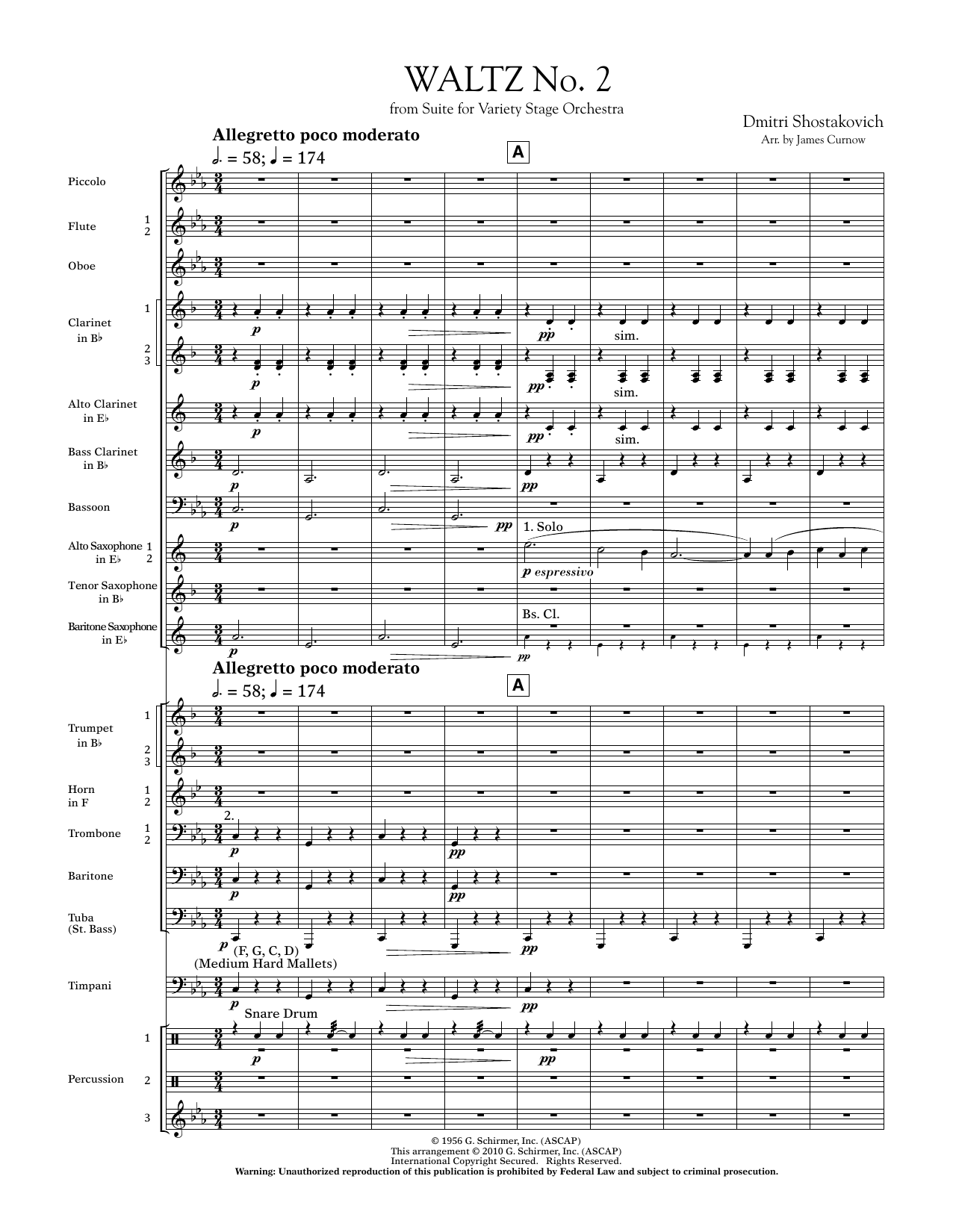 Waltz No. 2 (from Suite For Variety Stage Orchestra) (COMPLETE) sheet music for concert band by Dmitri Shostakovich and James Curnow. Score Image Preview.