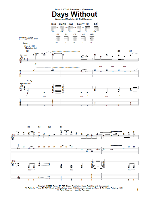 Days Without (Guitar Tab)