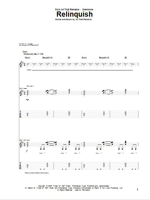 Relinquish Sheet Music