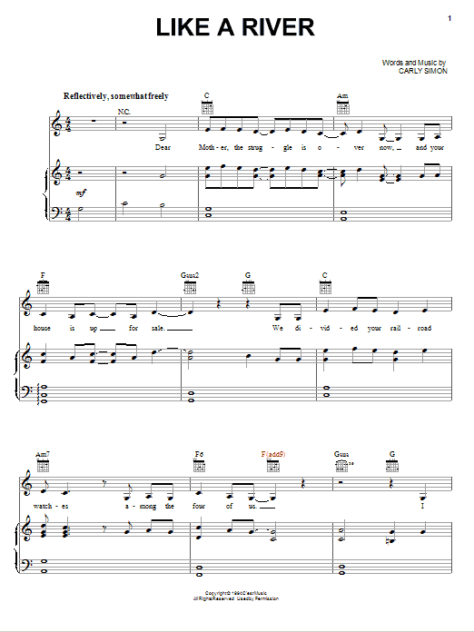 Like A River (Piano, Vocal & Guitar (Right-Hand Melody))