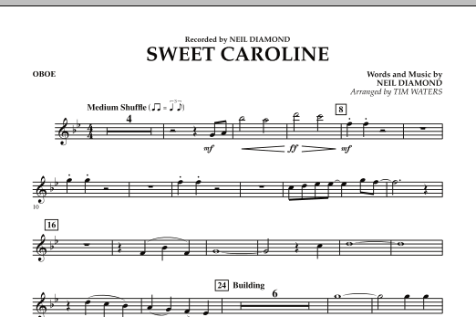 Sweet Caroline Oboe Concert Band Print Sheet Music Now