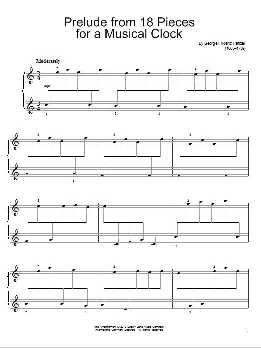 Partition piano Prelude In C For A Musical Clock de George Frideric Handel - Piano Facile