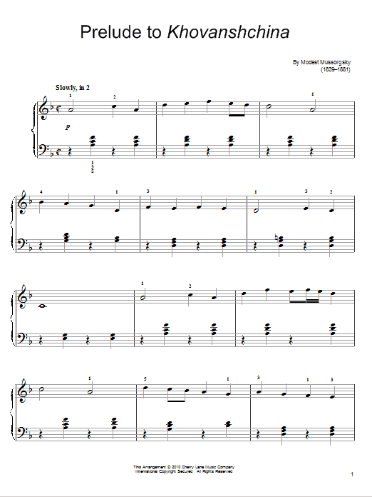 Prelude To Khovanshchina Sheet Music