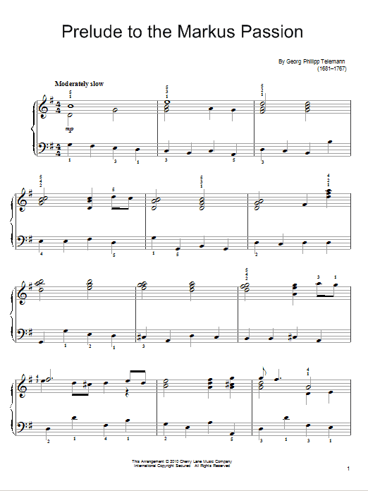 Prelude To The Markus Passion Sheet Music