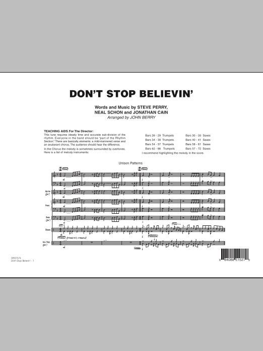 Don't Stop Believin' - Conductor Score (Full Score) (Jazz Ensemble)