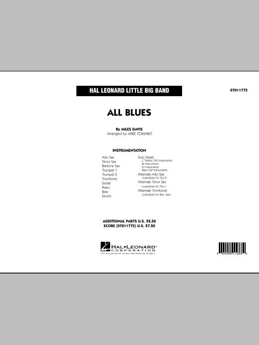 All Blues (COMPLETE) sheet music for jazz band by Miles Davis and Mike Tomaro. Score Image Preview.