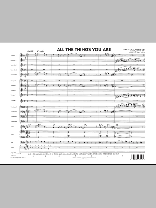 All The Things You Are (COMPLETE) sheet music for jazz band by Oscar II Hammerstein, Jerome Kern and Mark Taylor. Score Image Preview.