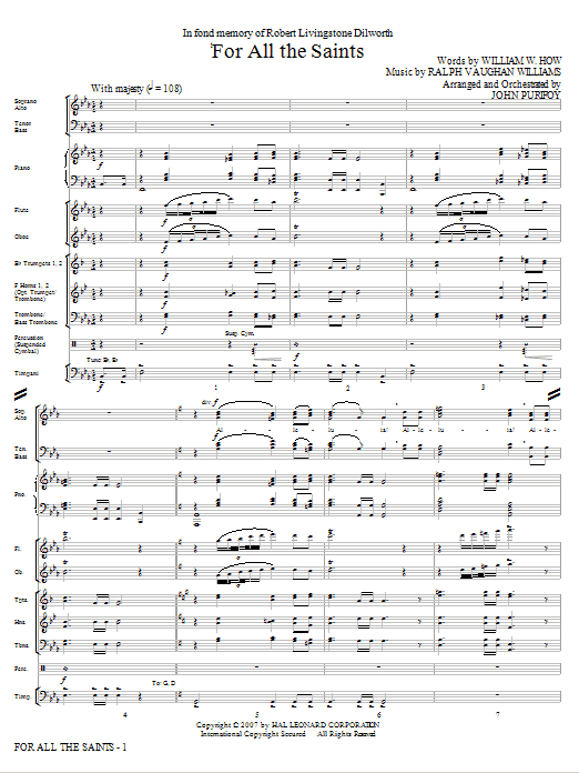 For All The Saints (complete set of parts) sheet music for orchestra/band (chamber ensemble) by John Purifoy, Ralph Vaughan Williams and William W. How. Score Image Preview.