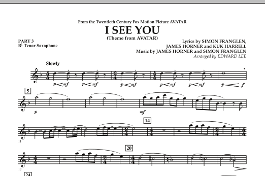 I See You (Theme from Avatar) - Pt.3 - Bb Tenor Saxophone (Flex-Band)