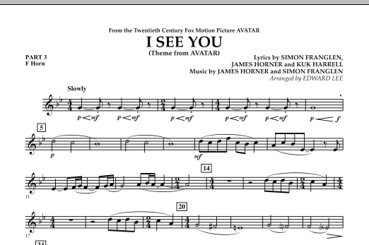 I See You (Theme from Avatar) - Pt.3 - F Horn (Flex-Band)