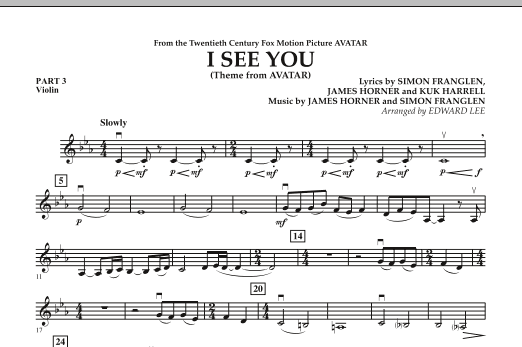 I See You (Theme from Avatar) - Pt.3 - Violin (Concert Band)