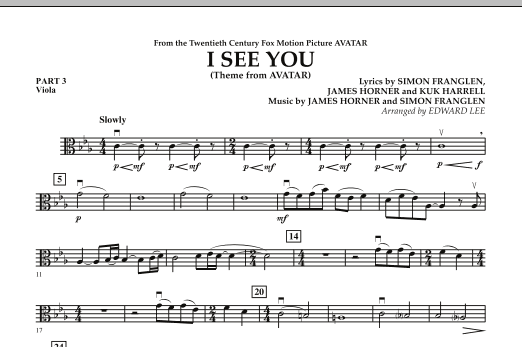 I See You (Theme from Avatar) - Pt.3 - Viola (Concert Band)