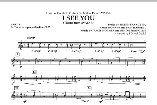 I See You (Theme from Avatar) - Pt.4 - Bb Tenor Sax/Bar. T.C. (Concert Band)