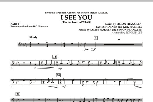 I See You (Theme from Avatar) - Pt.5 - Trombone/Bar. B.C./Bsn. (Concert Band)