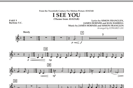 I See You (Theme from Avatar) - Pt.5 - Baritone T.C. (Concert Band)