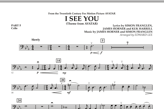 I See You (Theme from Avatar) - Pt.5 - Cello (Concert Band)
