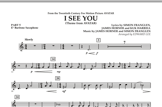 I See You (Theme from Avatar) - Pt.5 - Eb Baritone Saxophone (Concert Band)