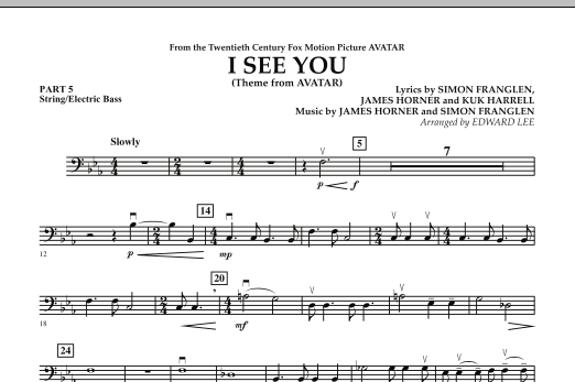 I See You (Theme from Avatar) - Pt.5 - String/Electric Bass (Concert Band)