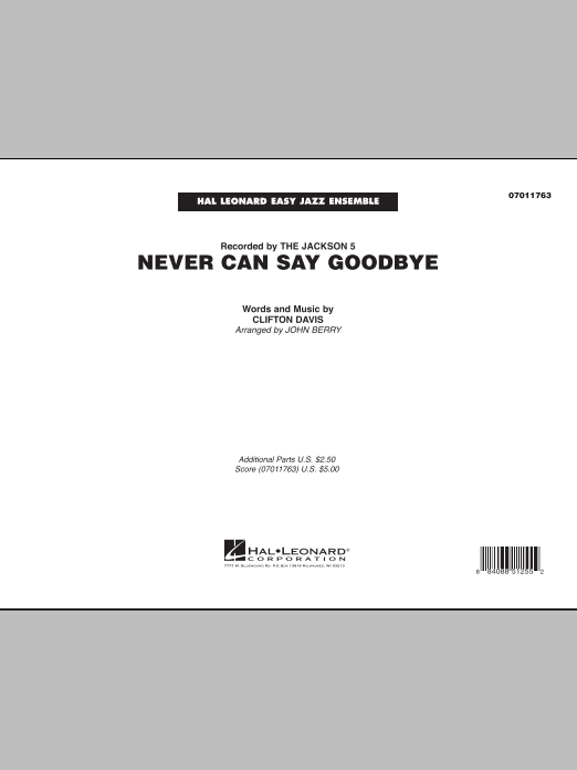 Never Can Say Goodbye (COMPLETE) sheet music for jazz band by John Berry, Clifton Davis and The Jackson 5. Score Image Preview.