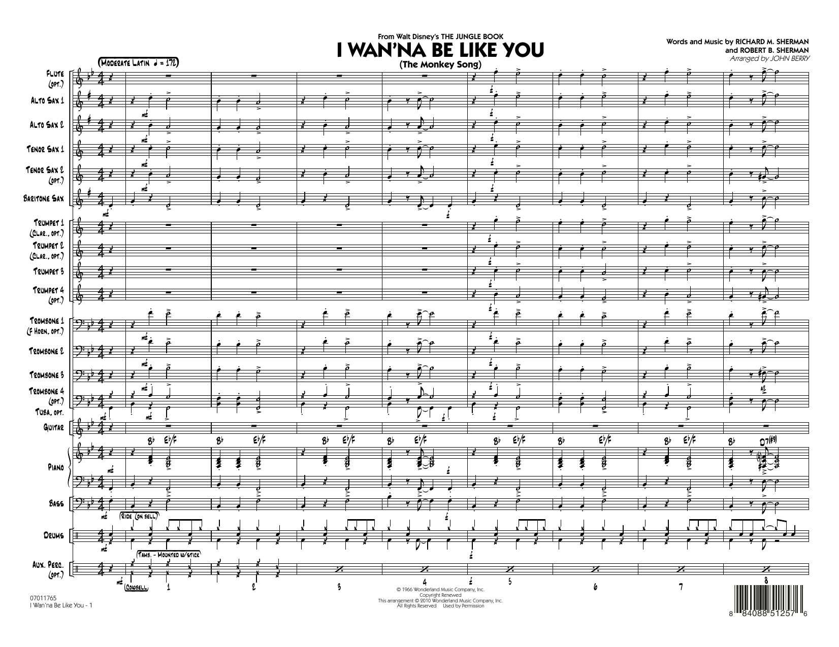 I Wan'na Be Like You (The Monkey Song) (COMPLETE) sheet music for jazz band by John Berry, Richard M. Sherman and Robert B. Sherman. Score Image Preview.