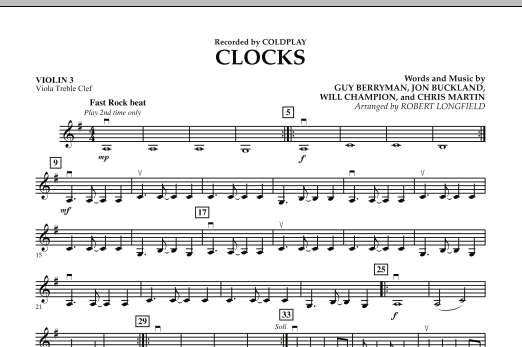 Clocks - Violin 3 (Viola Treble Clef) (Orchestra)