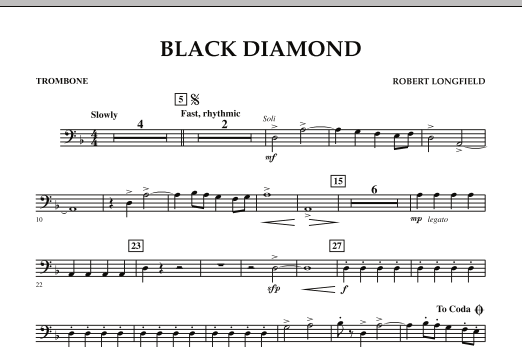 page one of Black Diamond - TromboneASALTTEXT