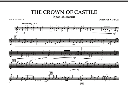 The Crown Of Castile - Bb Clarinet 1 (Concert Band)