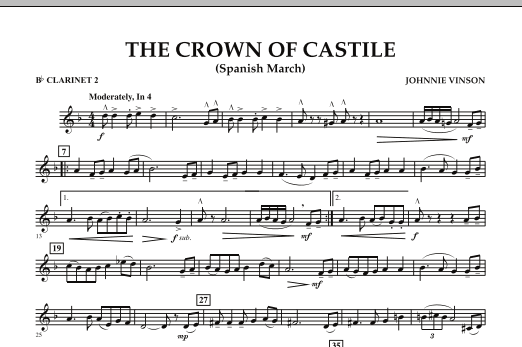 The Crown Of Castile - Bb Clarinet 2 (Concert Band)