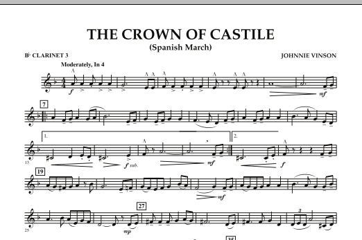 The Crown Of Castile - Bb Clarinet 3 (Concert Band)
