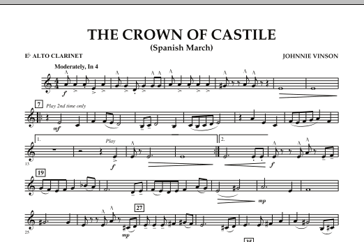 The Crown Of Castile - Eb Alto Clarinet (Concert Band)