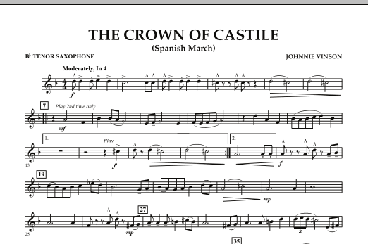 The Crown Of Castile - Bb Tenor Saxophone (Concert Band)
