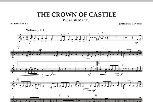 The Crown Of Castile - Bb Trumpet 2 (Concert Band)