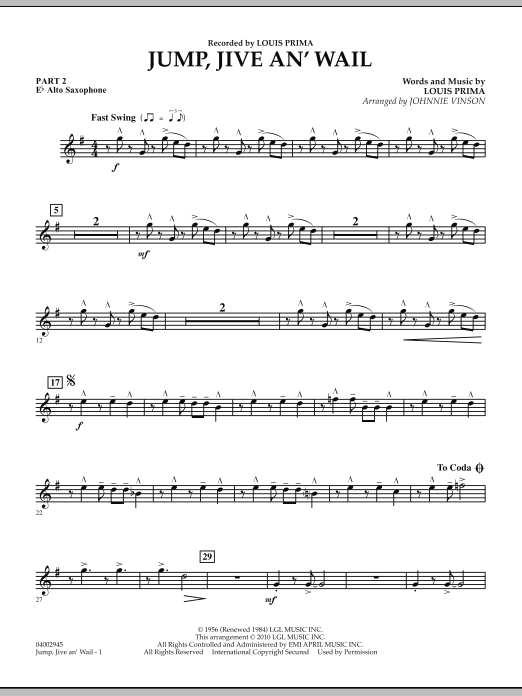 Jump, Jive An' Wail - Pt.2 - Eb Alto Saxophone (Concert Band: Flex-Band)