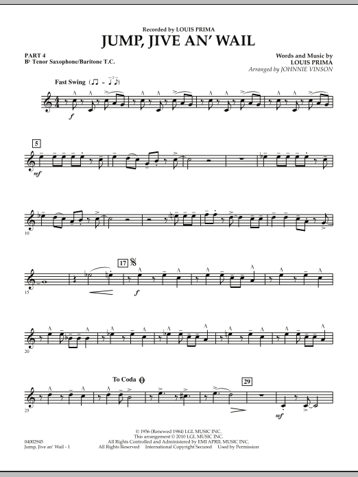 Jump, Jive An' Wail - Pt.4 - Bb Tenor Sax/Bar. T.C. (Concert Band: Flex-Band)