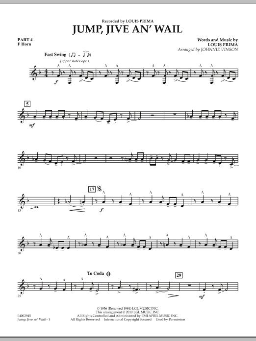 Jump, Jive An' Wail - Pt.4 - F Horn (Concert Band: Flex-Band)